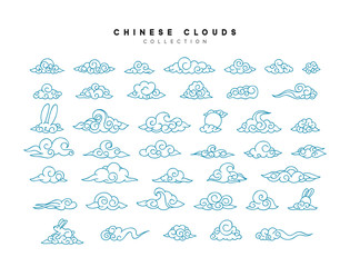 Collection of blue clouds in Chinese style.
