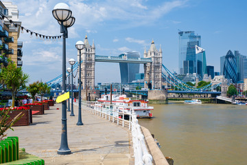 Tower Bridge, the river Thames and the City of London on a sunny day