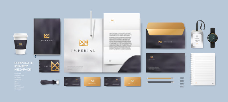 Corporate identity premium branding design. Stationery mockup vector megapack set. Template for business or finance company. Folder and A4 letter, visiting card and envelope based on modern gold logo.