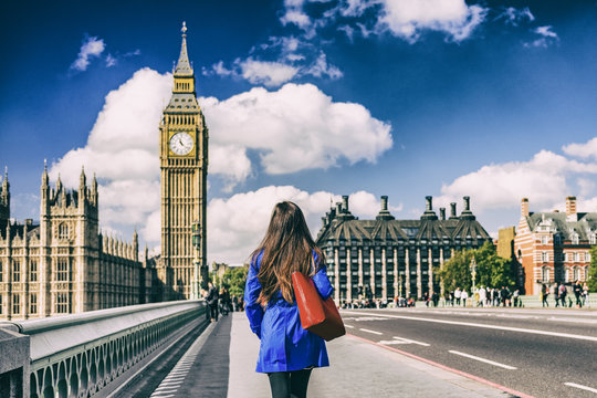 Brexit UK London city lifestyle background for EU UK concept. Commuter walking away on street.