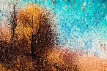 Abstract painting of autumn trees with yellow leaves, digital illustration