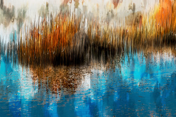 Abstract painting of yellow grasses in swamp, autumn color shades, digital illustration