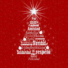 Greeting card with white words in Spanish language forming a Christmas tree with a bright star on the tip on a red background with white stars. Word Cloud design.