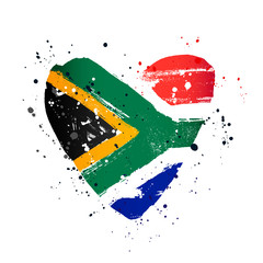 South African flag in the form of a big heart.