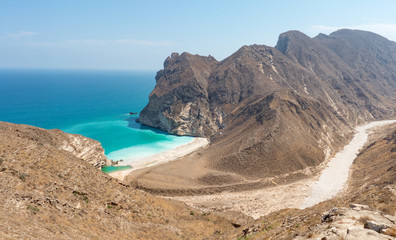 View to Hidden Beach near Mughsayl (Salalah) from Sultan Qaboos Street Sultanate of Oman