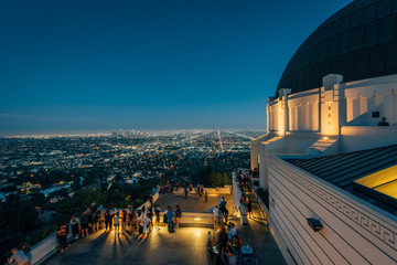 Griffith Observatory at night, in Griffith Park, Los Angeles, California