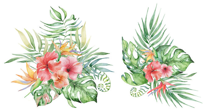 watercolor tropical plants bouquets set. Exotic flowers and leaves,