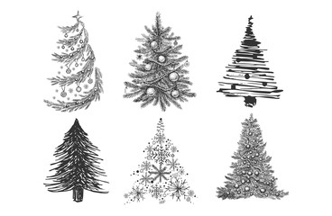 Christmas tree hand drawn illustration
