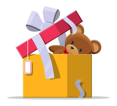 Teddy bear inside gift box. Bear plush toy. Teddybear icon. Christmas or new year gift. Children donation. Vector illustration in flat style