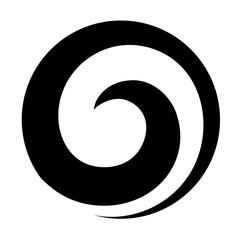 Maori koru spiral swirl for logo or icon in black