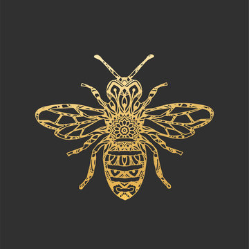 Golden Abstract Ornamental Bee Shape. Vector Honey Bee for Your Design.