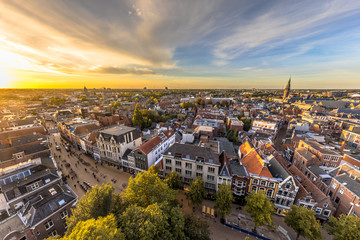 Skyline of historic Groningen city Wall mural