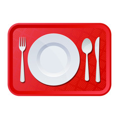 Plastic tray with plate, fork and knife vector design illustration isolated on white background