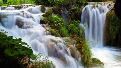waterfall with lake and nature, slow motion Wall mural