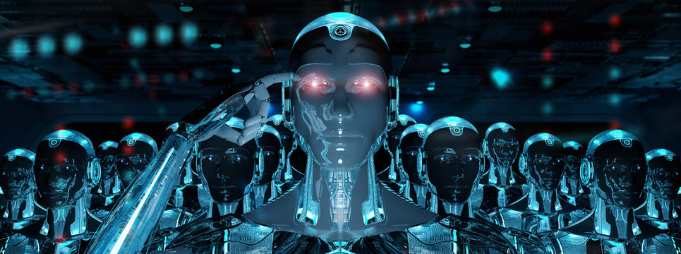 Group of male robots following leader cyborg army 3d rendering