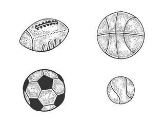 Sports balls football soccer tennis basketball set sketch engraving vector illustration. Tee shirt apparel print design. Scratch board style imitation. Black and white hand drawn image.