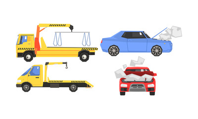 Evacuator Tow Track and Damaged Cars Set, Car Evacuation, Road Assistance Service Help Vector Illustration
