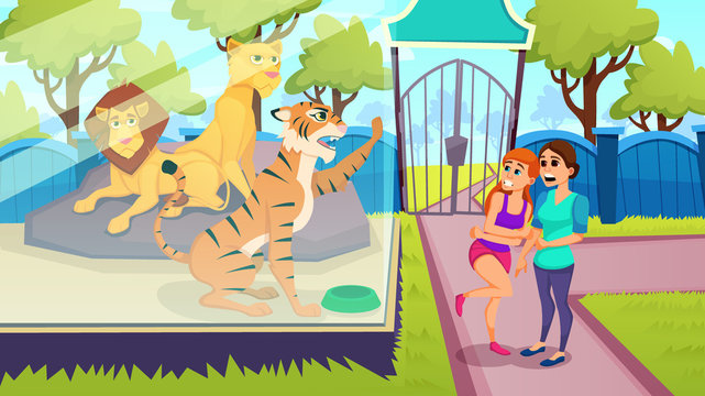 Tiger in Glass Cage Scared Women in Zoo. Vector.