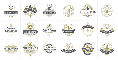 Christmas vector typography ornate labels and badges, happy new year and winter holidays wishes for vector illustration