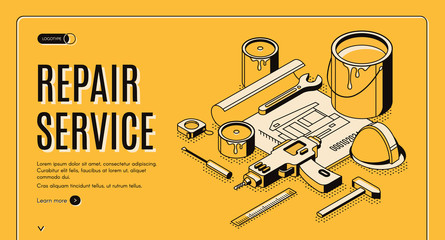 Obraz Repair service isometric landing page, engineering construction plan with tools for house renovation as paint, drill, helmet. Architect building company service 3d vector web banner template, line art - fototapety do salonu