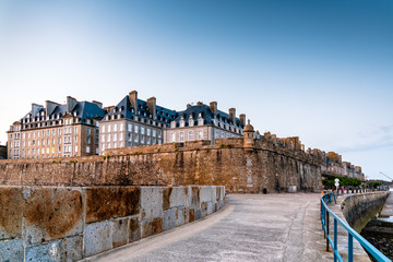 View of the walled city of Saint Malo at sunset