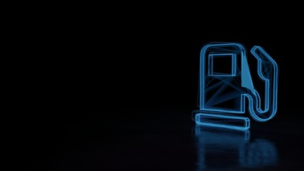 3d glowing wireframe symbol of symbol of gas pump isolated on black background