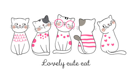 Draw banner funny cat pink pastel.
