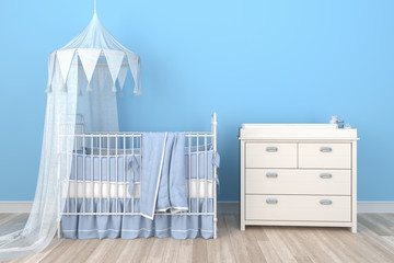 3d Illustration - Kinderzimmer, Baby, Kinderbett, Bett, Junge, Kind