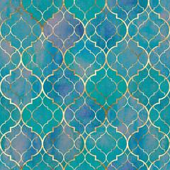 Watercolor abstract geometric seamless pattern. Arab tiles. Kaleidoscope effect. Watercolour vintage mosaic texture