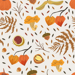 Seamless pattern decorated with floral elements like chestnut, acorn, girolle, fern and walnut. Autumn harvest illustration that can be used as a background for textile, fabric, wrapping paper print.