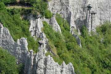 Monument rocks (Chalk Pyramids) of Zone at lake Iseo in Italy