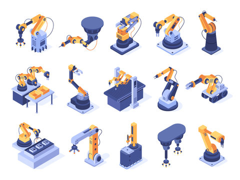 Isometric robotic arm. Industrial factory machines, manufacturing automatisation and production line robot arms. Engineer robotic mechanism arm futuristic tech 3d isolated vector icons set