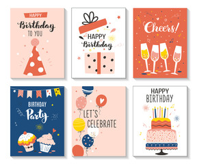 Happy birthday greeting card and party invitation set, vector illustration, hand drawn style.