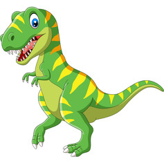 Cartoon green dinosaur on white background