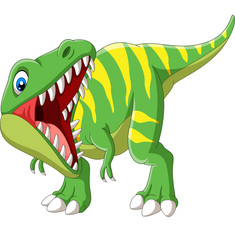 Cartoon Tyrannosaurus Rex roaring on white background