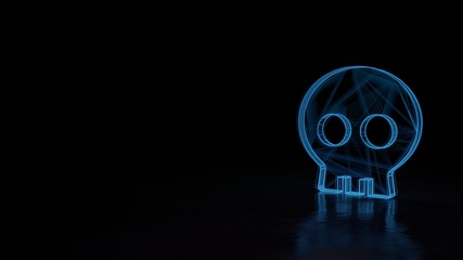 3d glowing wireframe symbol of symbol of skull isolated on black background