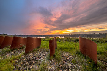Rusty Metal objects in landscape