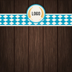 Vector Octoberfest background for beer table menu or flyer. Vintage rustic design with dark wooden backdrop.