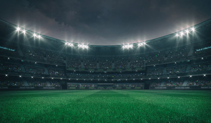 Empty green grass field and alight outdoor stadium with fans, front playground view, grassy field sport building 3D professional background illustration Fototapete