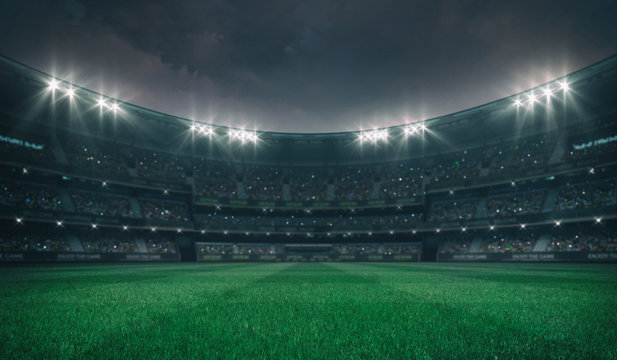 Empty green grass field and alight outdoor stadium with fans, front playground view, grassy field sport building 3D professional background illustration