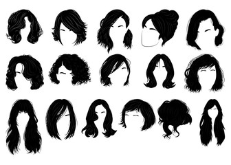 Set of hairstyles for women. Collection of black silhouettes of hairstyles for girls. Fashionable hairstyles. Fototapete
