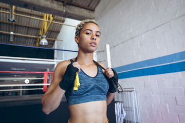 Portrait of boxer in boxing club