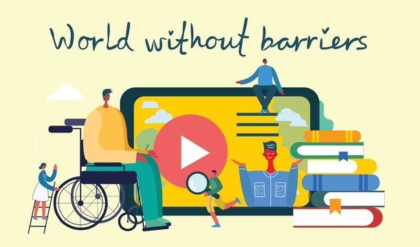 Vector background with disabled people, young invalid persons and men online education system. World without barriers. Flat cartoon characters.