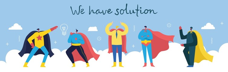 We have solution. Vector concept illustration background of Start up and Finding solution in flat style