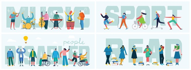 Vector illustrations of thesocialconcept business people in the flat style. Sport, Music, Read and Disabled people concept