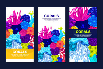 Vector composition of corals. Background with colorful sea or ocean life. Template for cover, invitation, banner, brochure, flyer, label, header. Advertising of water park, aquarium, marine exhibition Fototapete