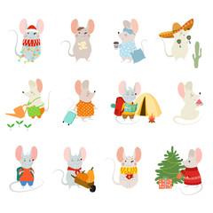 Set of cute cartoon rats. Vector illustration for calendar, card, banner, postcard and printable