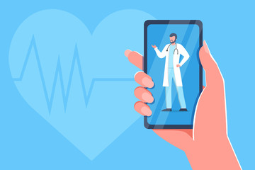 Online medical consultation and support. Online doctor, cardiology. Healthcare service, Ask a doctor. Family doctor with stethoscope on the phone screen. Vector for clinic web site, app, banner, flyer