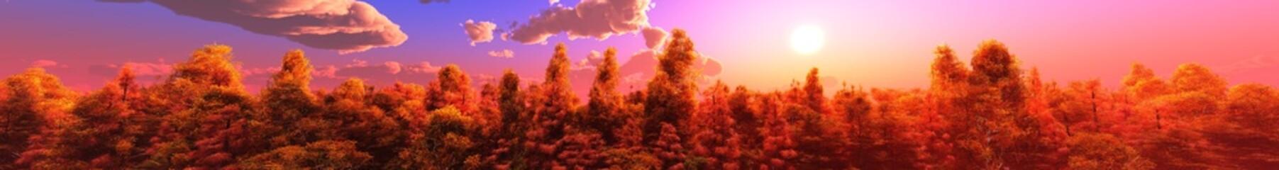 Photo sur Plexiglas Rouge mauve Panorama of the autumn landscape. Autumn park at sunset. Autumn trees under a blue sky with clouds. Banner.