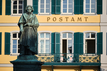 Image old post office and Beethoven statue in Bonn